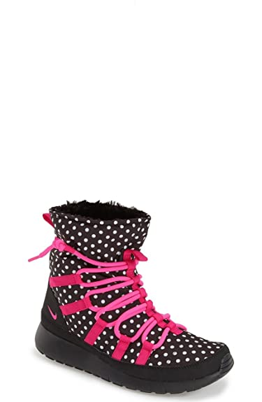537d6b52be90fa Nike Roshe One Hi Print Black Pink Pow-Vivid Pink-White (1