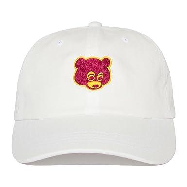 ff14c5dd Kanye West College Dropout Bear Hat Dad Cap - White: Amazon.co.uk: Clothing