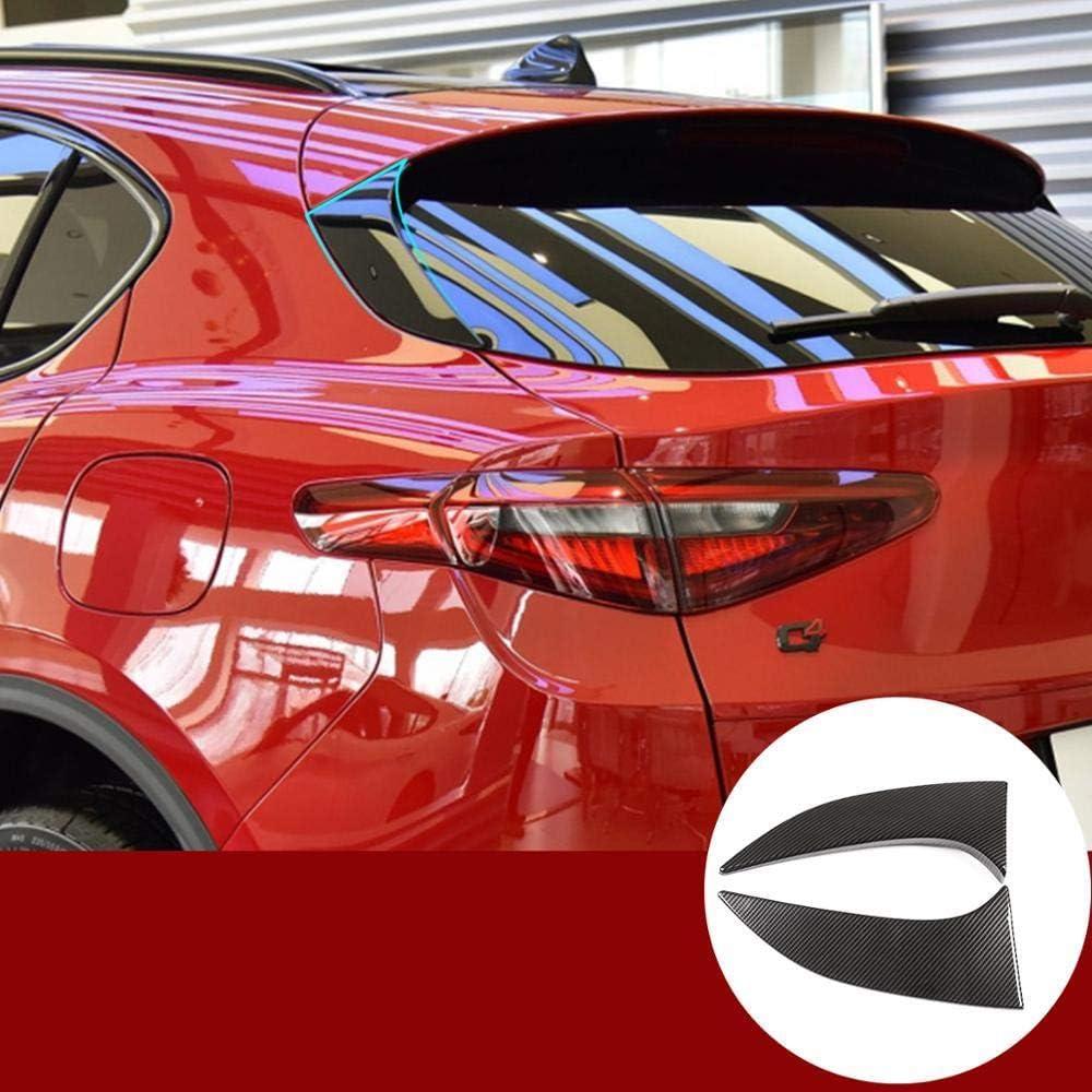 SLONGK Per Alfa Romeo Stelvio 2017-2020 Plastica ABS Fibra di Carbonio Stile Porta Posteriore Triangolo Pannello Decorativo Accessori Esterni per Auto