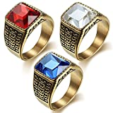 PAMTIER Men's and Women's Titanium Steel Vintage Domineering Totem Zirconia Ring Set Gold Tone Red Blue White Size 10