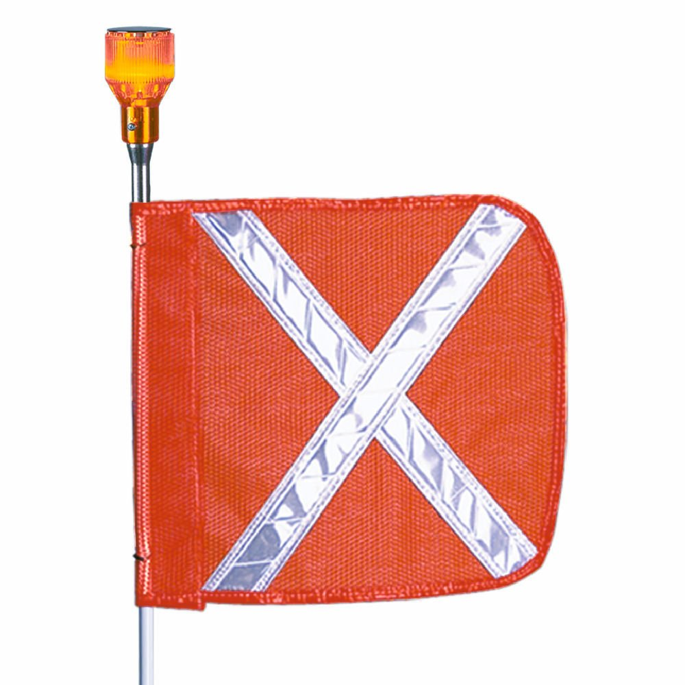 Pack of 1 Orange 11 Overall Width 5 Overall Length Flagstaff FS5 Safety Flag with Reflective X and Light Male Quick Disconnect Base