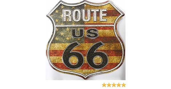 Route 66 American Flag Shield Cartel de Chapa Placa metal plano Nuevo 30x30cm VS4505-1