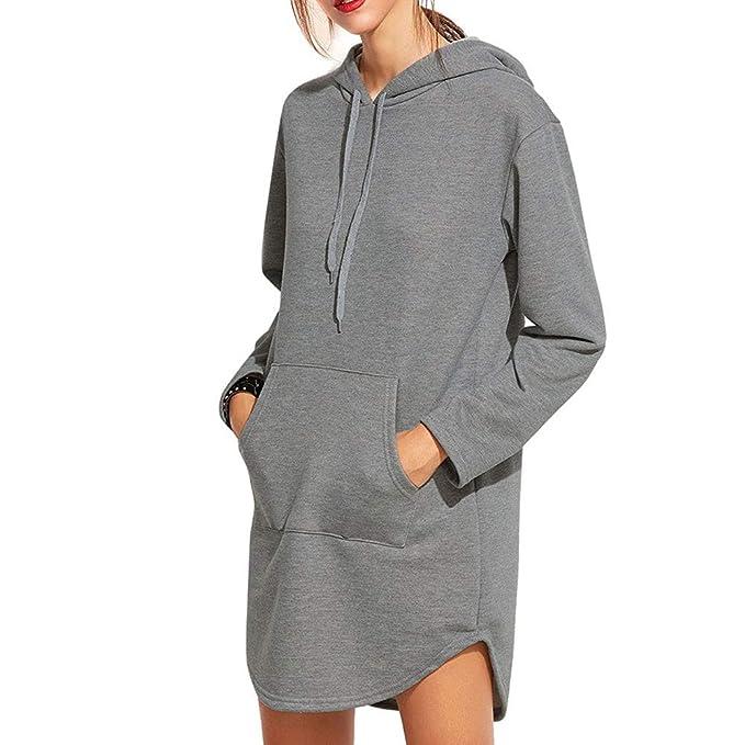 48ba7de45558 Rosennie Damen Sweatshirt Kleid Doppelspalte Hoodie Pullover Sweater Mit  Taschen Herbst Winter Outdoor Mantel(Grau