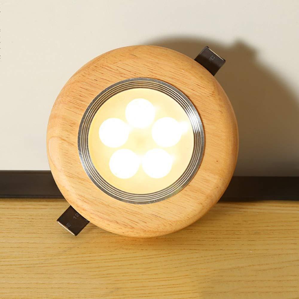 Modenny 3w 5w 7w runde COB-LED-Scheinwerferlampe aus Holz Acryl eingelassene Decke Downlight Ultra helle Platte runde Innenleuchte Dekorations-Büro-Mall-Korridor-Deckenleuchte-Lampe