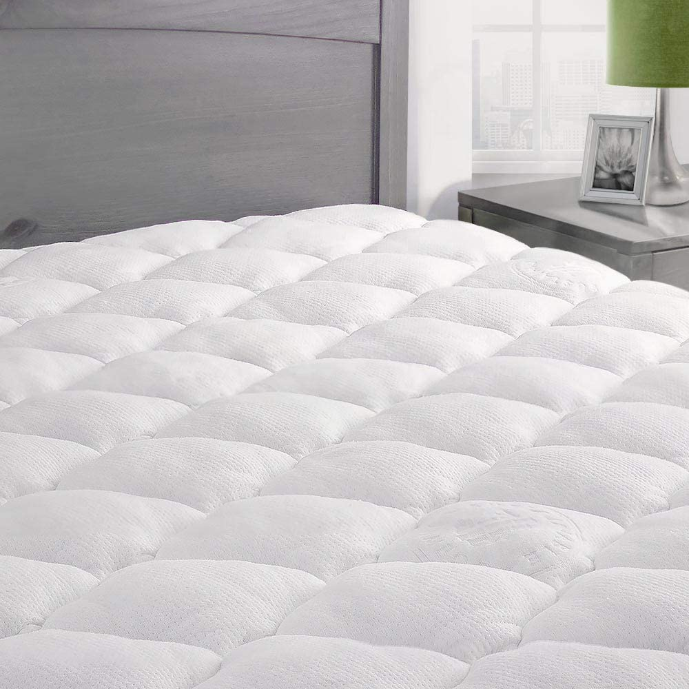 ExceptionalSheets Rayon from Bamboo Mattress Pad with Fitted Skirt - Extra Plush Cooling Topper - Hypoallergenic - Made in The USA, California King