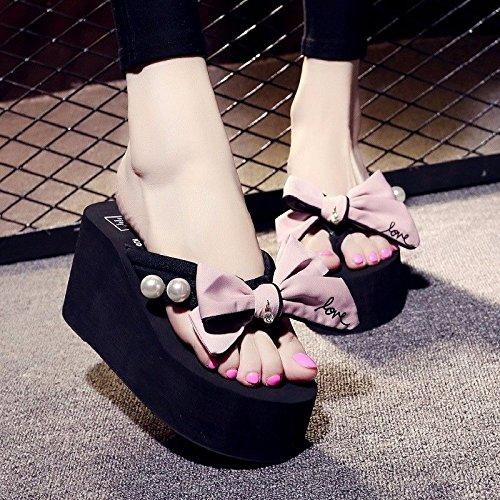 LIUXINDA bow alto moda fondo Rosa flip flop spiaggia estate donna di scarpe con Nuovi italiana da il toccò anti XZ skid Pantofole prodotti Coreano tacco spesso le ZIPrZ1