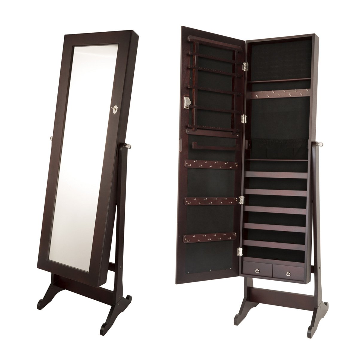 Pupula Mirror Jewelry Cabinet 4 Floor Lockable Standing Jewelry Armoire Organizer with Mirror with 2 Drawers 3 Angles (Brown)