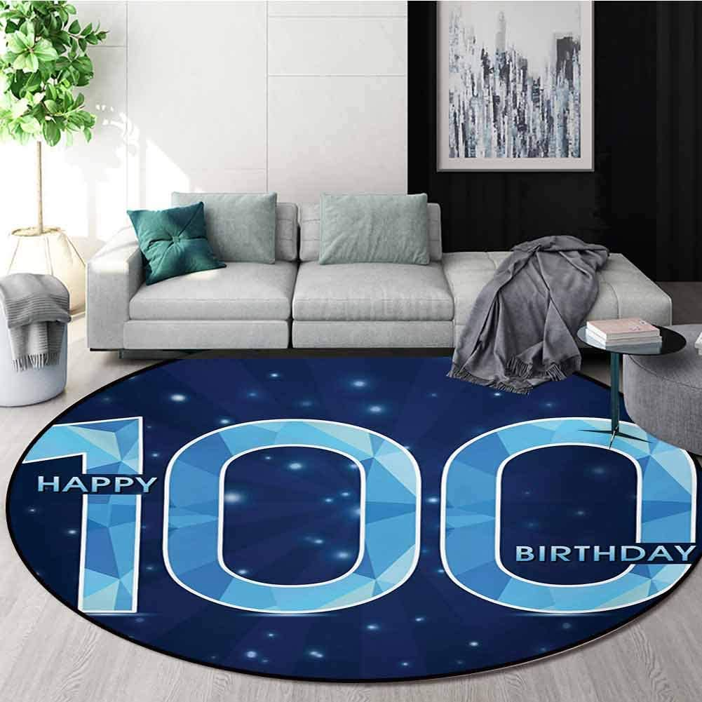100Th Birthday Modern Machine Washable Round Bath Mat,Happy Birthday Old Grandparents One Century Party Image Print Non-Slip Living Room Soft Floor Mat,Diameter-55 Inch Sky Blue and Navy Blue 61zL8BP7F2L