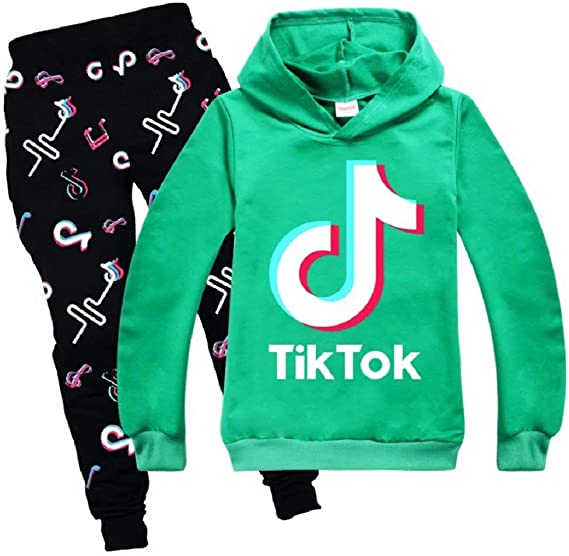 TIK-Tok Hoodies and Sweatpants Causal 2 Piece Outfits Kids Tracksuit Set Children Sweatshirt for Girls Boys
