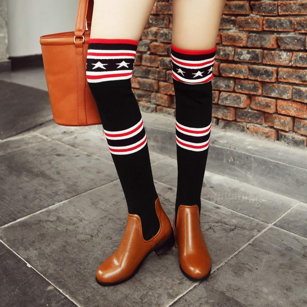 Fashion Autumn Winter Women Over-The-Knee Boots Round Toe Low Heel Slip-On Elastic Shoes