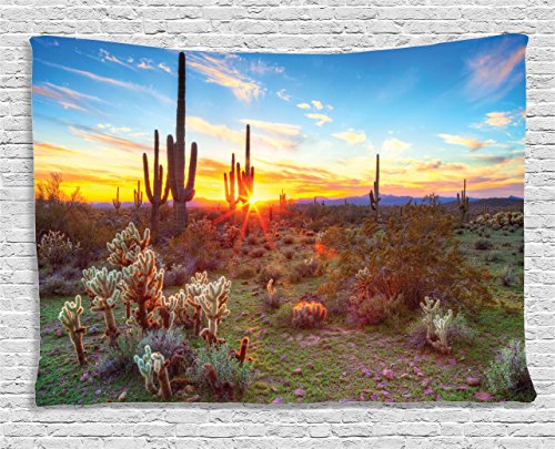 Ambesonne Saguaro Cactus Decor Collection, Sun Is Setting Between Saguaros Wildflowers, In Sonoran Desert Scene Picture, Bedroom Living Room Dorm Wall Hanging Tapestry, 60W X 40L Inch ()