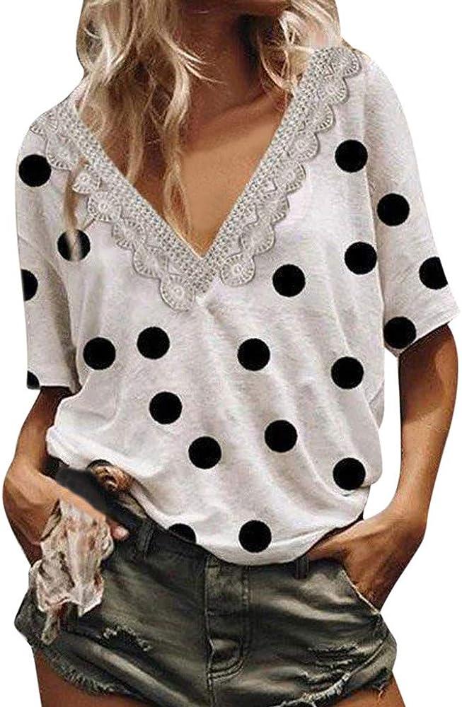 Berimaterry Camisa de Manga Corta de Botón de Mujer, Tallas Grandes Camisetas Camisas Mujer Verano Elegantes Estampado de Moda Fiesta Playa La Mujer Elegante Cuello En V Lunares Top Crop Top Blusa:
