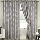 Tony's Textiles Sparkle Shiny Geometric Blackout 2 Curtain Panels With Grommet Top Silver Gray 90″ Wide x 90″ Drop