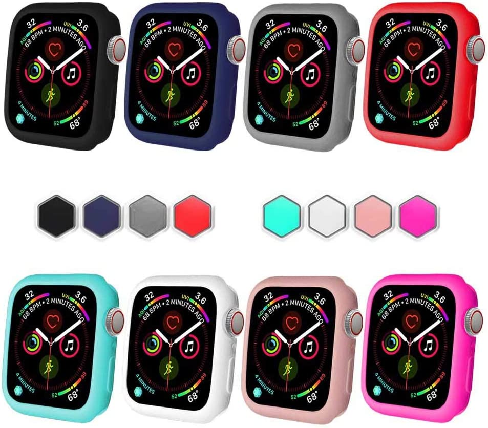 BOTOMALL for Watch Case 38mm 42mm 40mm 44mm Premium Soft Flexible TPU Thin Lightweight Protective Bumper Cover Protector for Smartwatch Series 6/5/4 Series 3/2(Colorful,40MM Series 4/5/6)