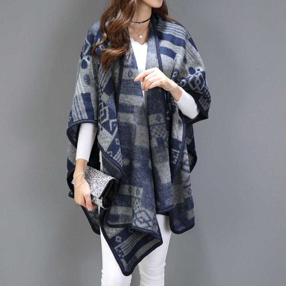 Bufanda HAIZHEN Elegante de moda Chal doble hembra otoño invierno rayas capa más gruesa capa cálida chaqueta geometría L160 * W110CM Suave y cálido (Color : Navy geometry)