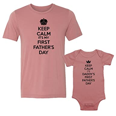 11ee3f01 Keep Calm It's My & Daddy's First Father's Day - Matching Triblend T-Shirt  & Baby Bodysuit Set: Clothing