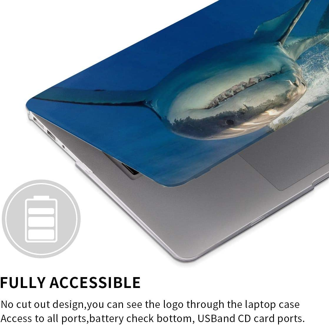 Big Shark Laptop Case Dust-Proof Laptop Case Cover Beauty Fully Protect Computer Plastic Case Hard Shell Cover Laptop Sleeve Case for air13