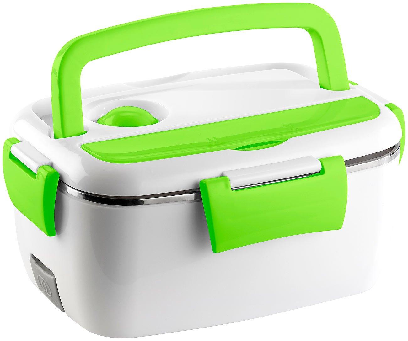 Rosenstein & Söhne Fiambrera térmica y eléctrica, calentador de alimentos de acero, 35 W, recipiente de 1200 ml, con 2 compartimentos, de acero: Amazon.es: ...
