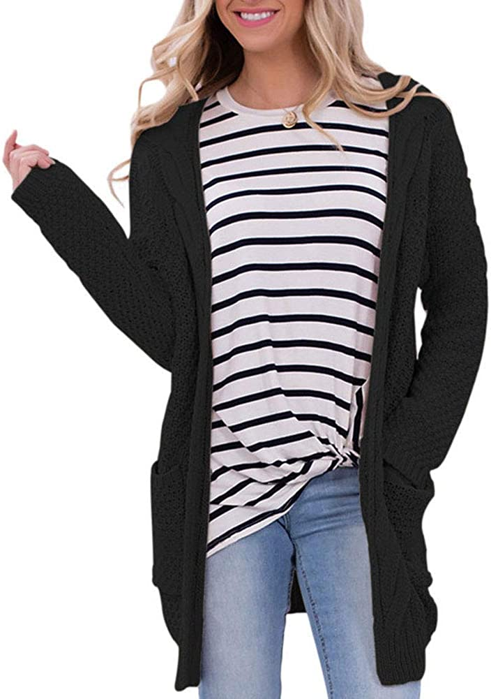 Inovatality Long Pockets Cardigan Sweater Coat Sleeve Womens Shrug Jacket with
