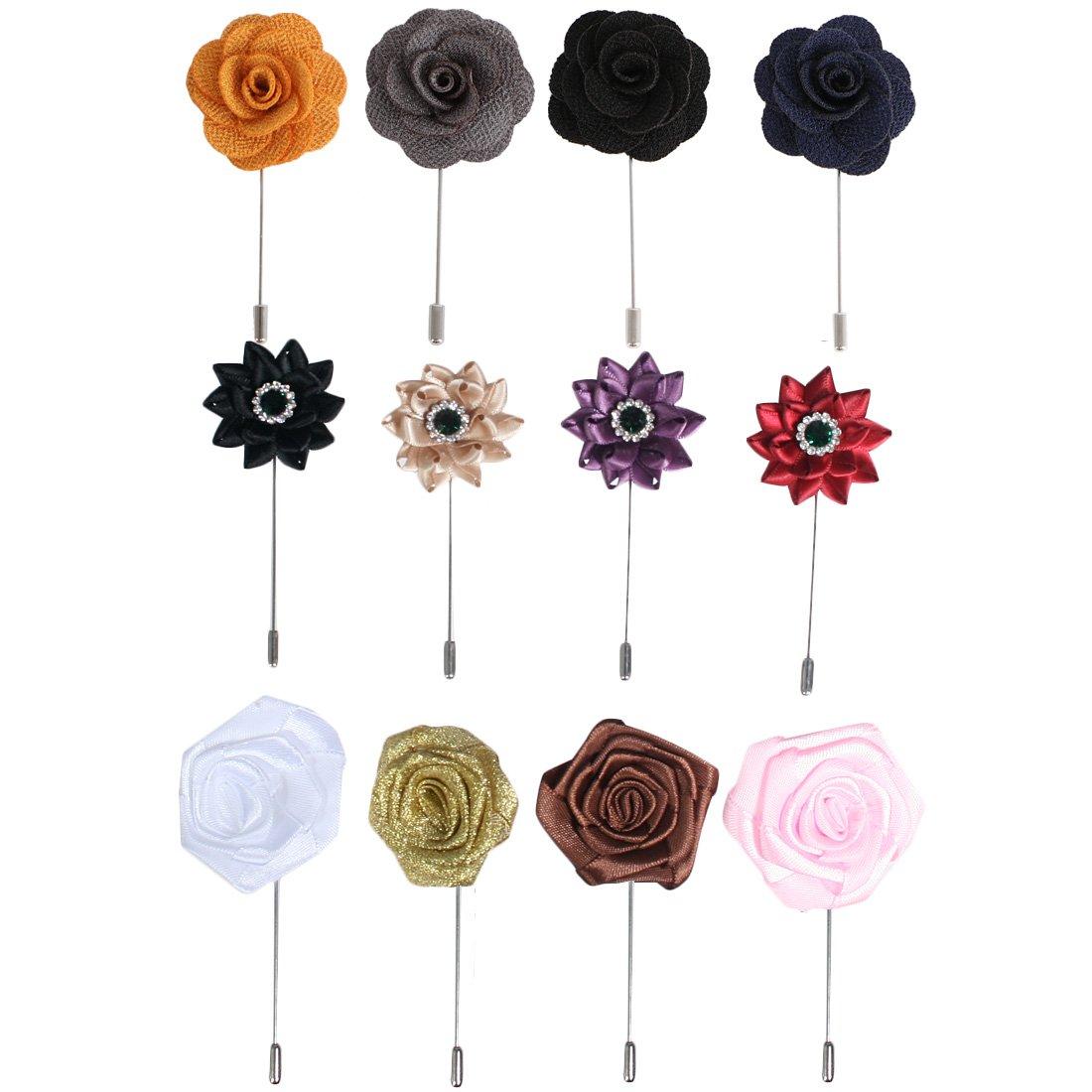 kilofly Men's Flower Lapel Pin Wedding Suit Boutonniere Stick, Set of 12 AMA318set12