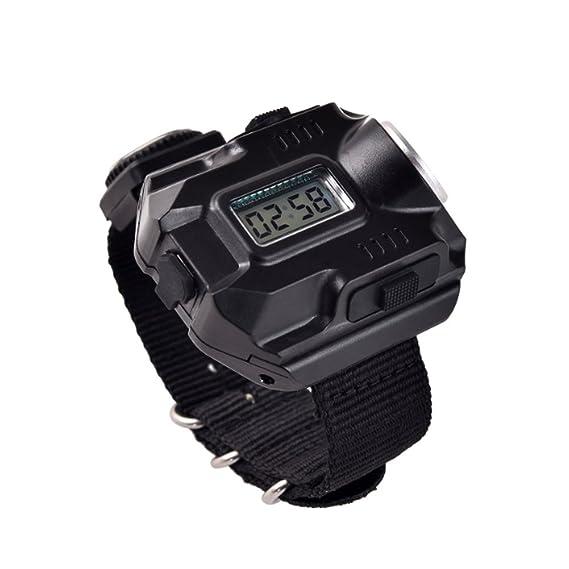 Linterna de brújula de reloj, recargable, resistente al agua y a los golpes, LED