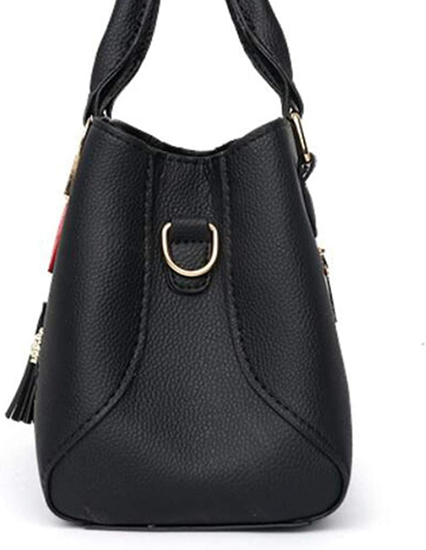 Monly Fashion Women Handbag Tassel PU Leather Tote Bag Top handle Embroidery Crossbody Bag Shoulder Bag Lady Simple Style Bag