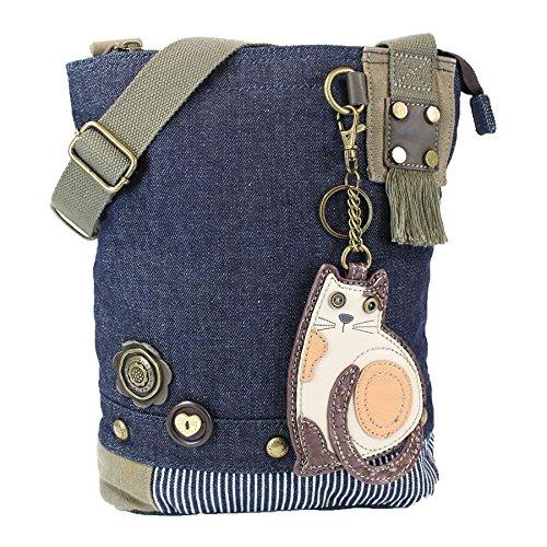 Chala Patch Cross-Body Women Handbag, Canvas Messenger Bag - Lazy Cat - -