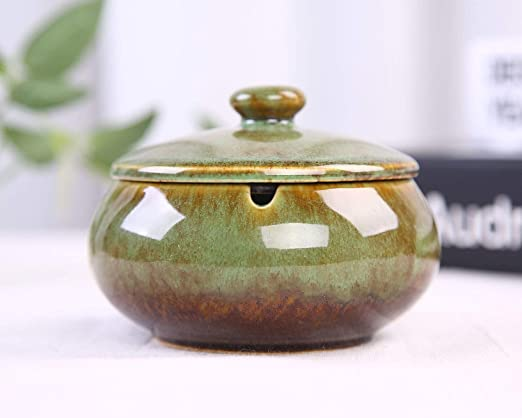 Hoobar Ceramic Ashtray with Lid Round Cigar Ashtray with Water Tank for Home /& Office Ash Holder Great Gift for Smokers Blue
