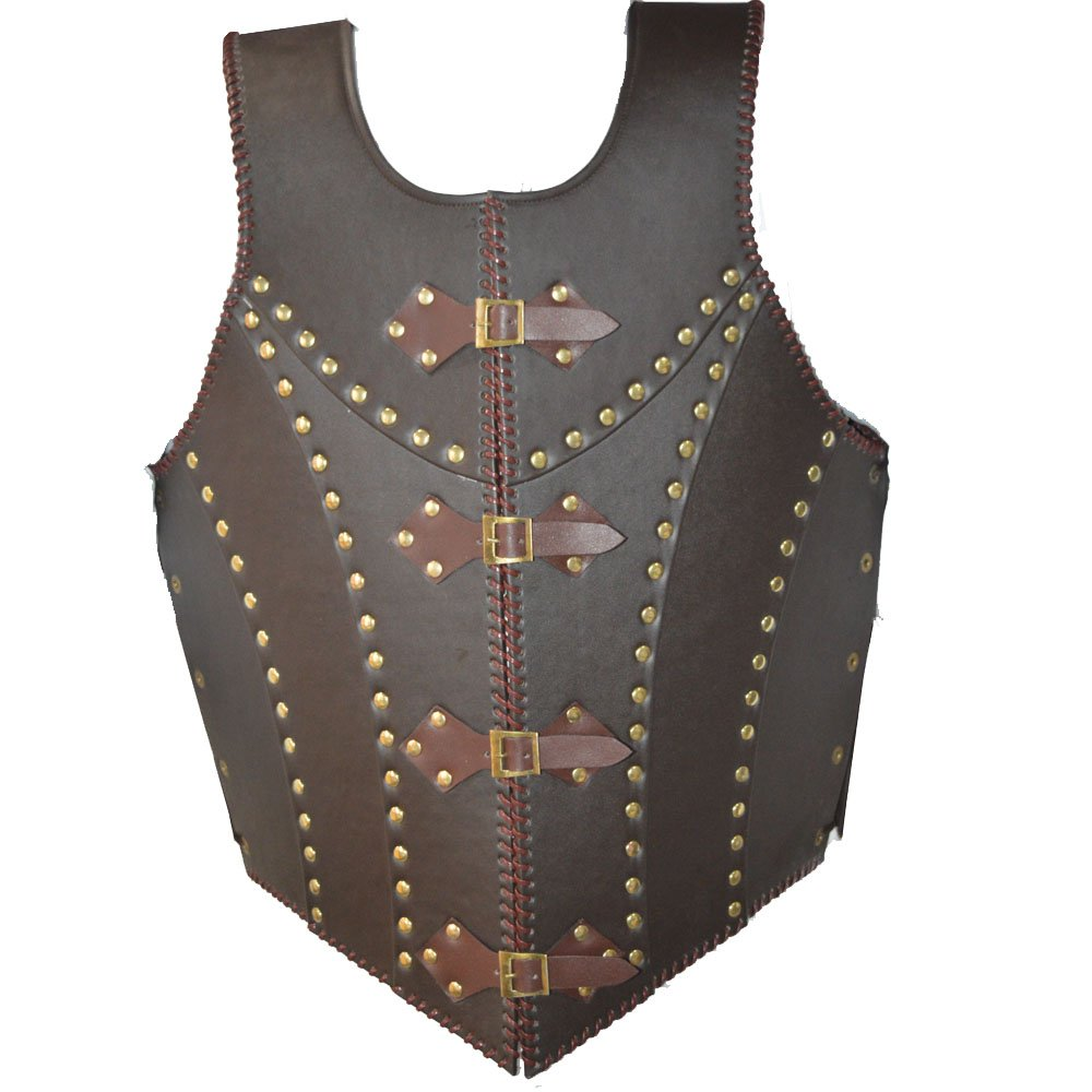 NASIR ALI Medieval Brown Leather dragon warrior Armor jacket costume larp NASIR ALI & CO.