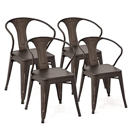 Costway Tolix Style Dining Chairs Industrial Vintage Chic Metal Stackable  High Back Indoor Outdoor Dining Bistro