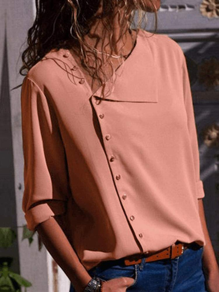 Fragil Tox Blouses Women Long Sleeve Button Down Loose Casual Basic Blouse Pink Multi 8 Medium