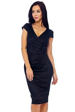 Womens Black Marcella Midi Dress UK Size 8