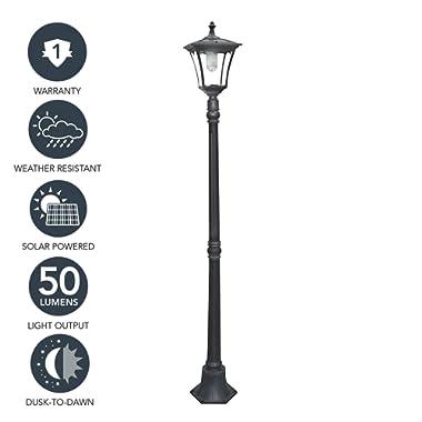 """Sterno Home GL23716BK Outdoor Solar LED Street Light, for Patio, Post Light, Garden, 80"""" High, 1-Pack, Black"""