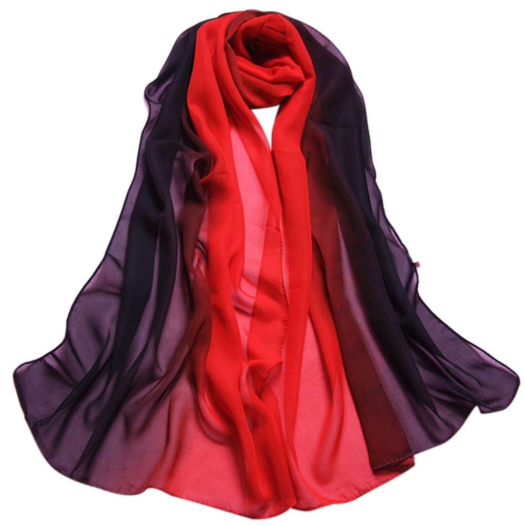 HOT, YANG-YI Fashion Women Gradient Color Long Wrap Women's Shawl Chiffon Scarf Lady Scarves (Black, ONE SIZE)