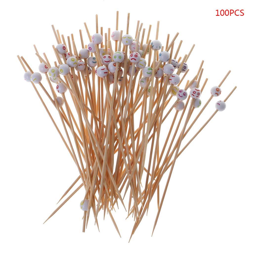 Manyo Zahnstocher – Lächelndes Gesicht – Bambus für Party – 100 Stück