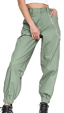 Snone Damen Lange Hosen Sporthosen Einfarbig Freizeithosen Weiblicher Trend Weite Bein Skinny Hosen Pants Casual Streetwear Hosen mit Kette Mode