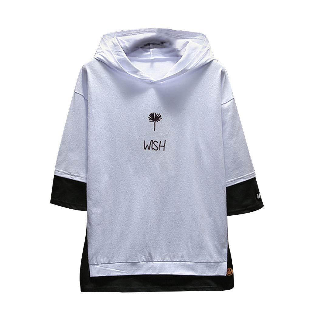 Men's Summer Casual Fashion Printing T-Shirts Hoodie Half Sleeves Top Blouse White
