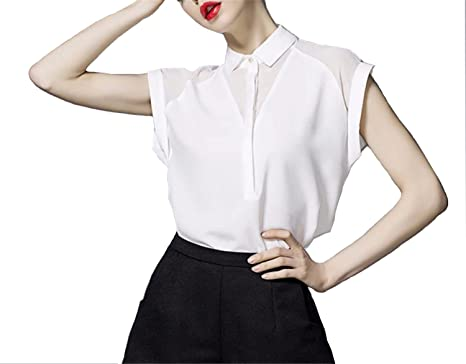New Summer Style Blouse Women Fashion White Chiffon Elegant Shirt Female Work Wear Office Ladies OL