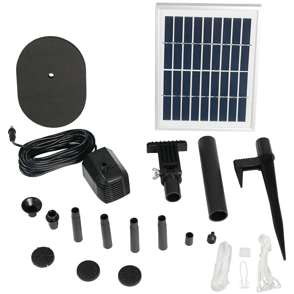 Sunnydaze Outdoor Solar Pump and Panel Fountain Kit with 36-Inch Lift, 66 GPH