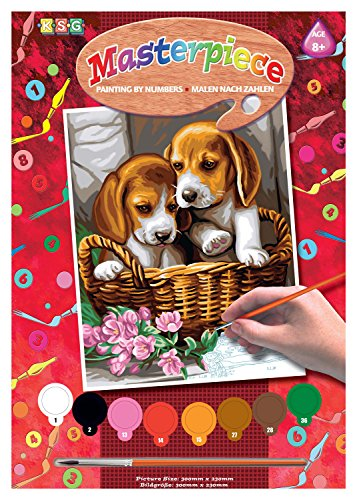 KSG Masterpiece Junior 1042 Paint by Numbers Set Puppies in a Basket ()