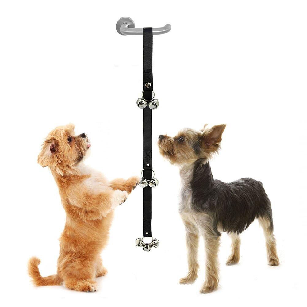 Sonnettes d'entraînement de chiens voulant aller au pot / Sonnettes de formation à domicile –7 pièces de 2, 54cm de grande cloches pour chien–Adéquates pour entraînement à la propreté–sonnette à longueur réglable avec directives d'entraînement de chi