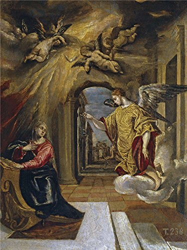 Briefs Sparkle Metallic - Oil Painting 'El Greco The Annunciation Ca. 1570', 18 x 24 inch / 46 x 61 cm , on High Definition HD canvas prints is for Gifts And Bar, Bed Room And Dining Room Decoration, for sale