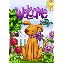 """Welcome Dog Summer House Flag Cute Pets Flowers Butterfly Puppy 28""""x40"""""""