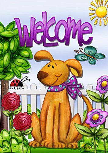 """Welcome Dog Spring Garden Flag Cute Pets Flowers Butterfly Puppy 12.5""""x18"""""""