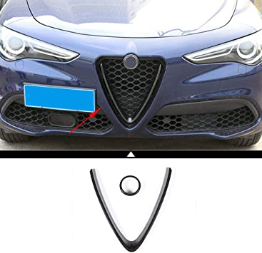 Car Front Grille Grill Logo Frame Cover Trim For Alfa Romeo Stelvio 2017-2019