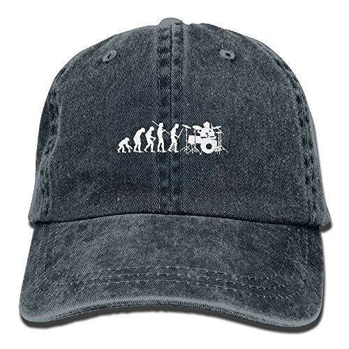 Evolution Funny Cap (Funny Drumming Music Evolution Unisex Adult Adjustable Trucker Dad Hat)