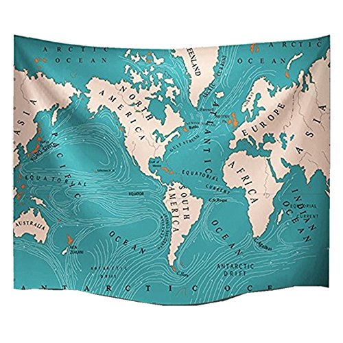 World Ocean Currents Hippie Tapestry Mandala Bohemian Bedroom Living Room Dorm Wall Tablecloths Single-sided Printing Picnic Blanket and Beach Throw (L/ 90