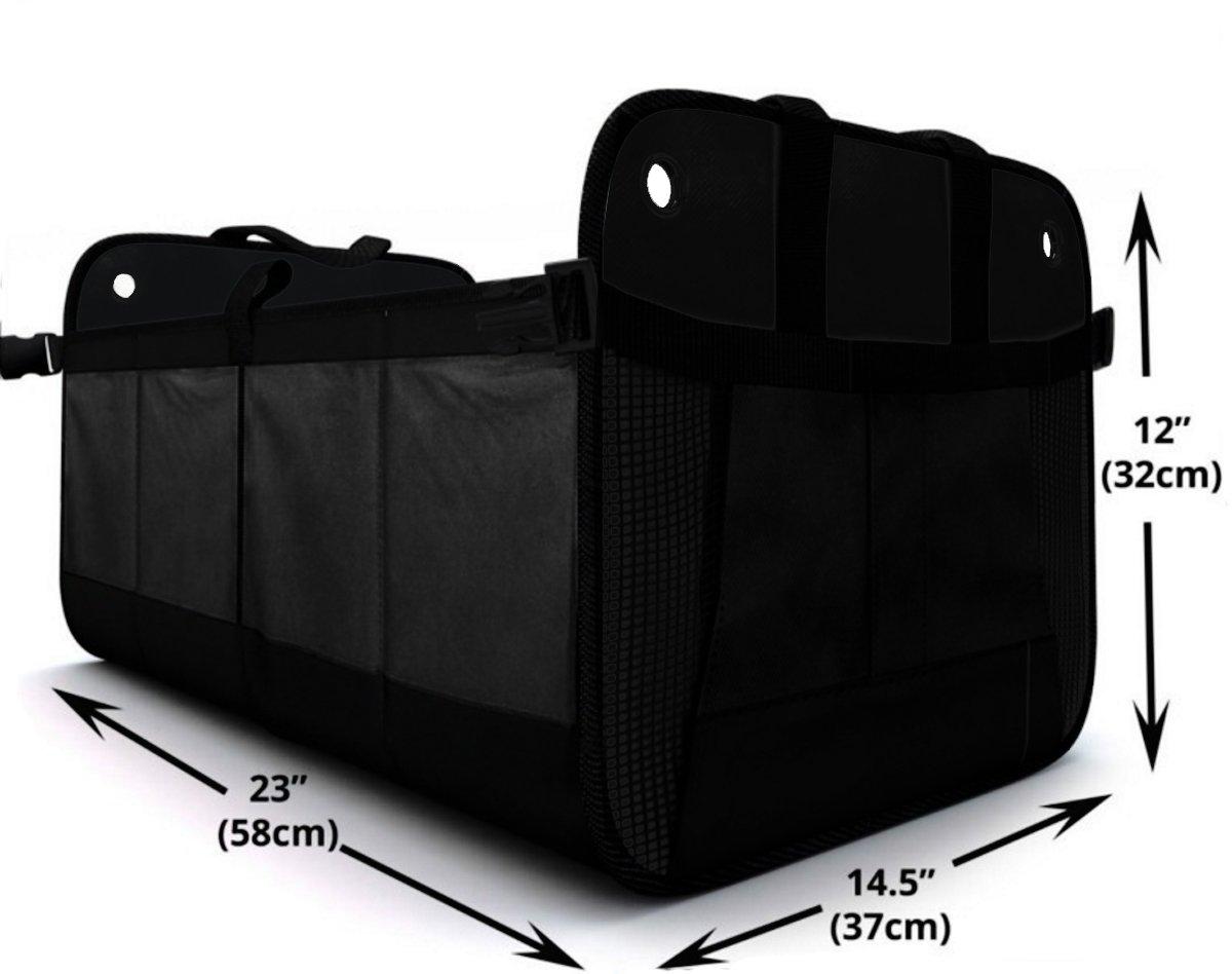 Design61, organizer BigBox per bagagliaio, pieghevole, con base solida, adatto anche come borsa per la spesa, 58 x 37 x 32 cm, colore nero
