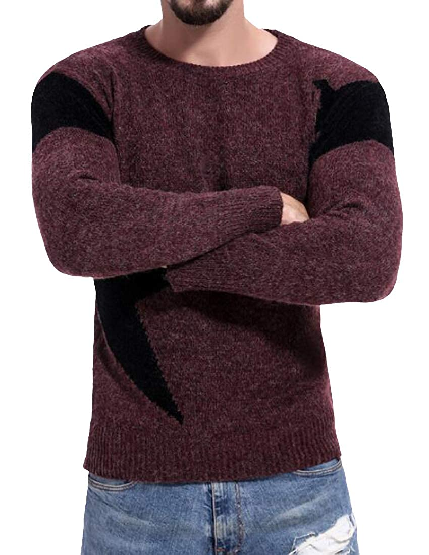 MOUTEN Mens Casual Long Sleeve Contrast Knit Crew Neck Slim Fit Pullover Sweater
