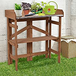 Giantex Metal Top Wooden Potting Bench Garden Planting Workstation Shelves(Dark Yellow)